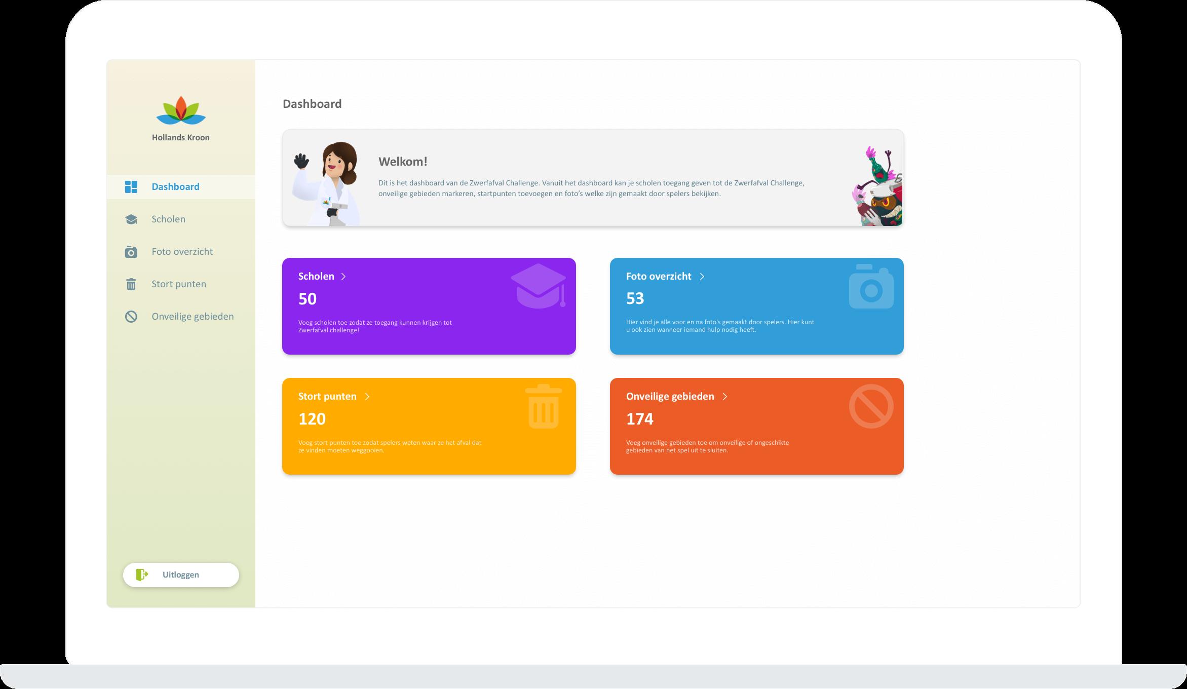 Function School admin dashboard - Litter Challenge app