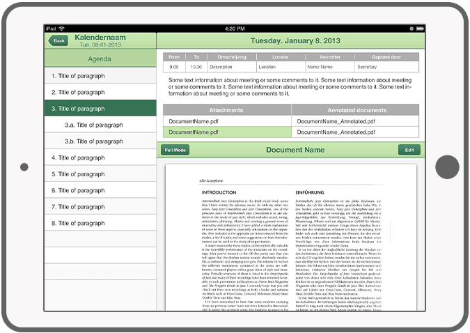 Function PDF-documenten - Adante e-vergadering app