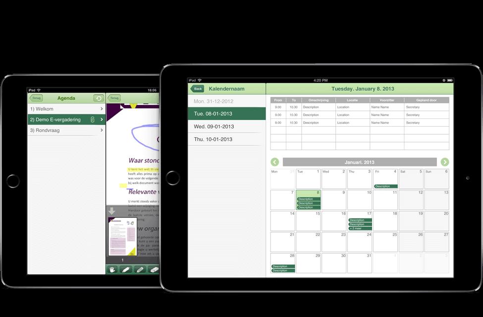 Adante E-meeting app overzicht