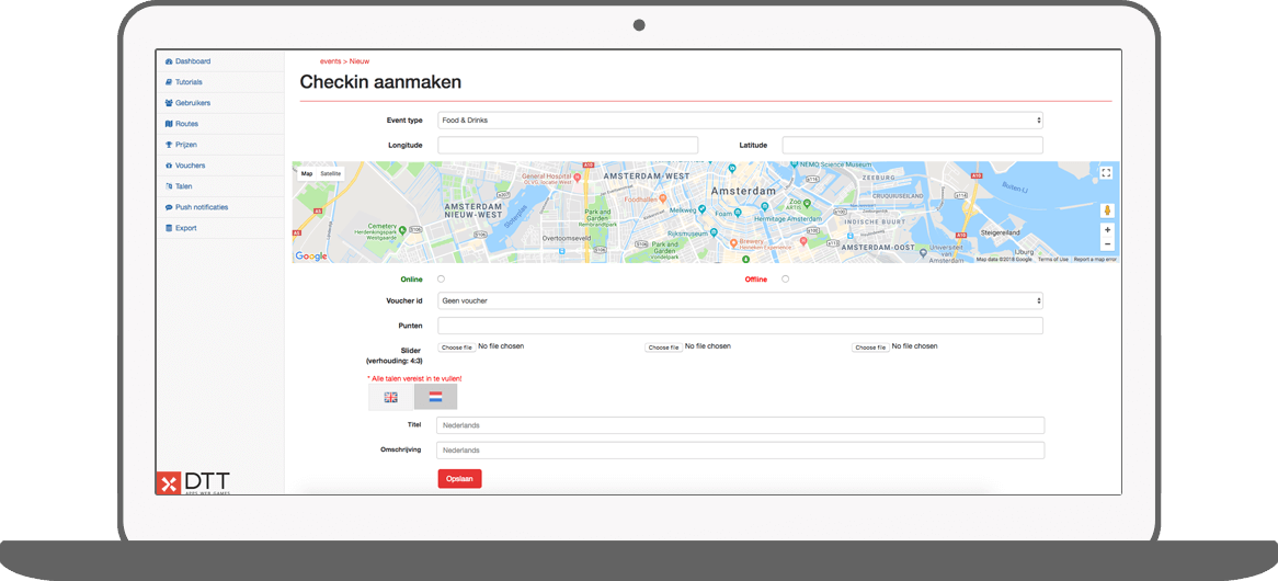 Function Create check-in - I amsterdam Maps & Routes