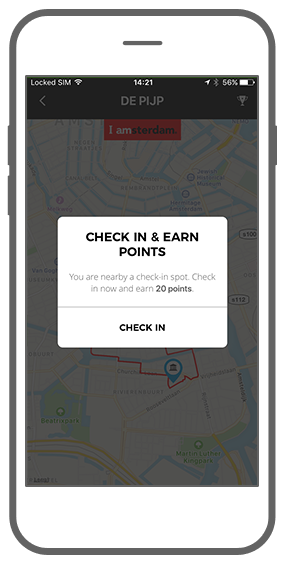 Function Check-in and win - I amsterdam Maps & Routes