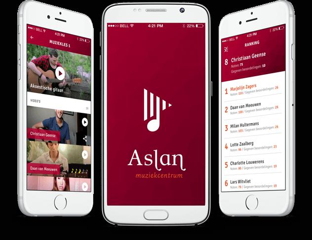 Aslan music school app overzicht