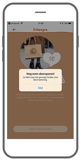 Function Rewards - Te weinig punten - Bagels & Beans loyalty app