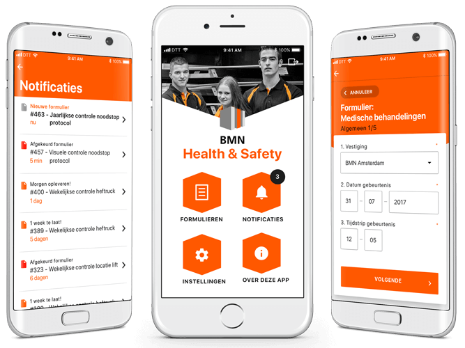 BMN Health & Safety app overzicht