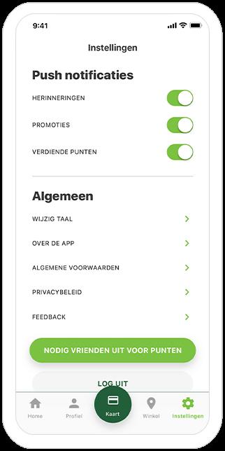 Function Settings - Famiflora loyalty app