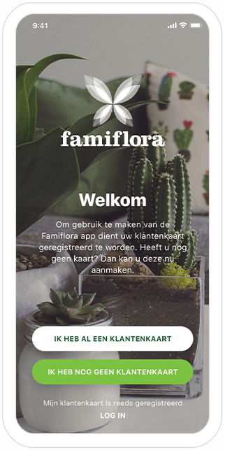 Function Welcome - Famiflora loyalty app