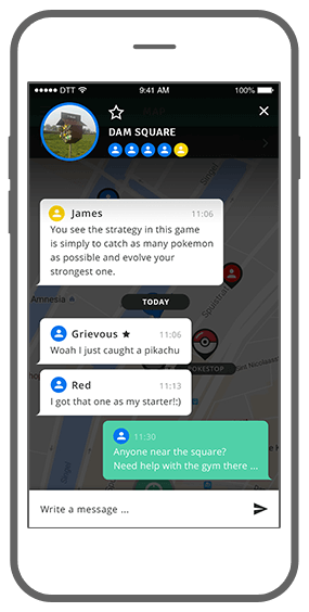 Function Chat away  - Geochat Pokémon radar
