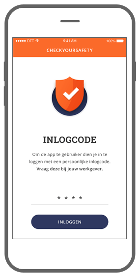 Function Inlogcode - Check Your Safety app