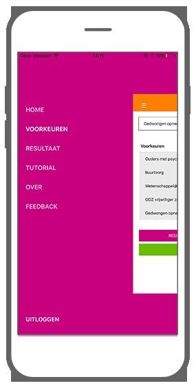 Function Menu - GGZ inGeest healthcare framework app