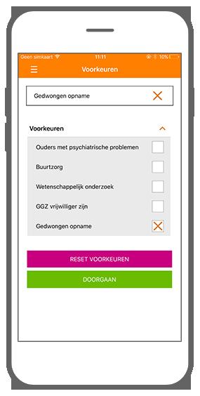 Function Preferences - GGZ inGeest healthcare framework app