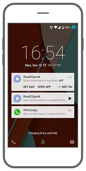 Function The necessary notifications - Read2Speak messages reading app
