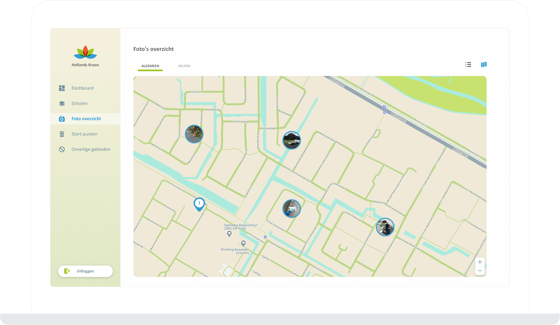 Function Pictures overview - Map view - Litter Challenge app