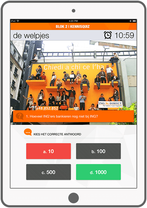 Function Weetjes, weetjes, weetjes - ING Marketingdag app