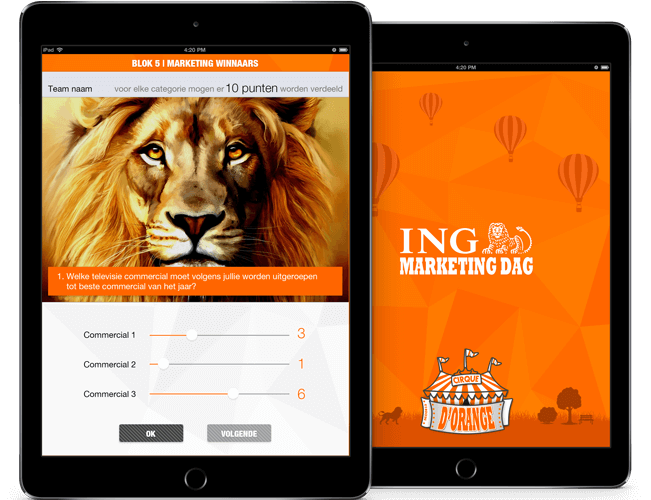 ING Marketingdag app overzicht
