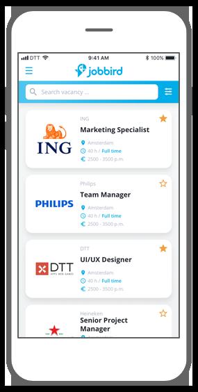 Function Step 4: Find the job you love! - Jobbird app