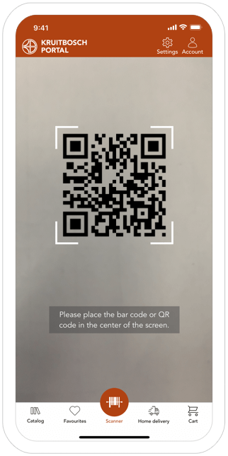 Function QR and barcode  - Kruitbosch order app