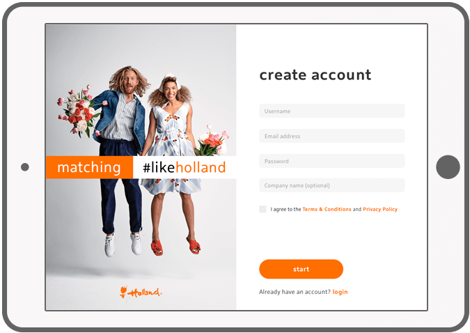 Function Create account - Holland Play and Match