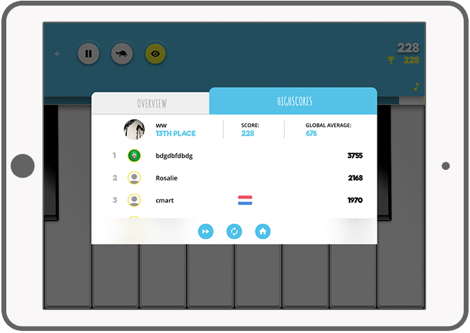 Function Highscore - Ditto piano music app