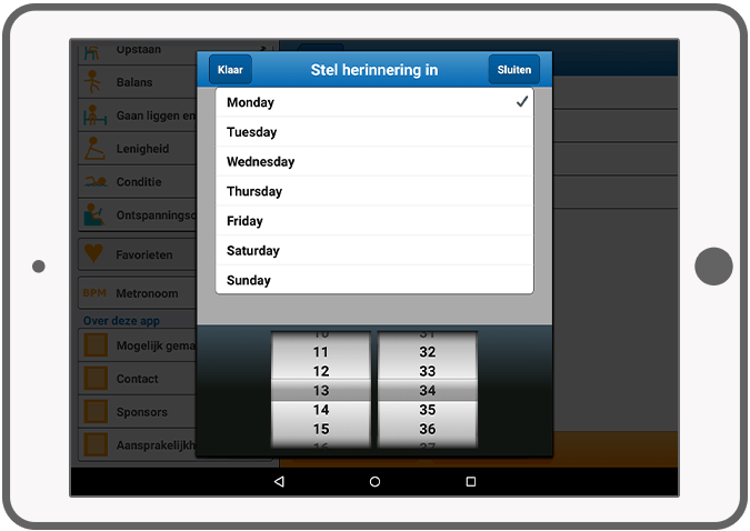 Function Notificaties - EFOX Parkinson's Oefeningen app