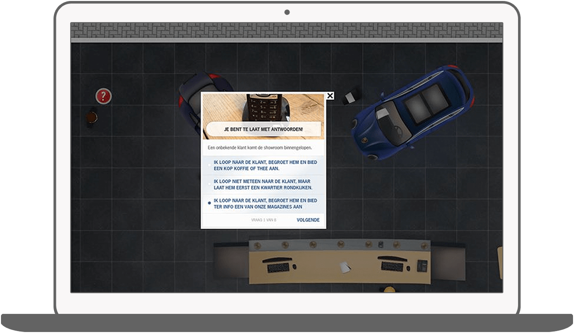 Function Pop-up vragenlijsten - Porsche E-learning game