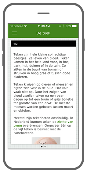Function Read more about the tick - RIVM Tick bite awareness app