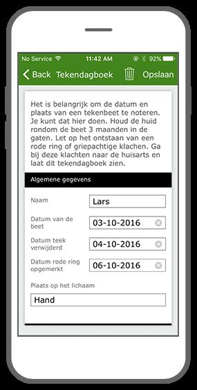 Function Tick journal - RIVM Tick bite awareness app