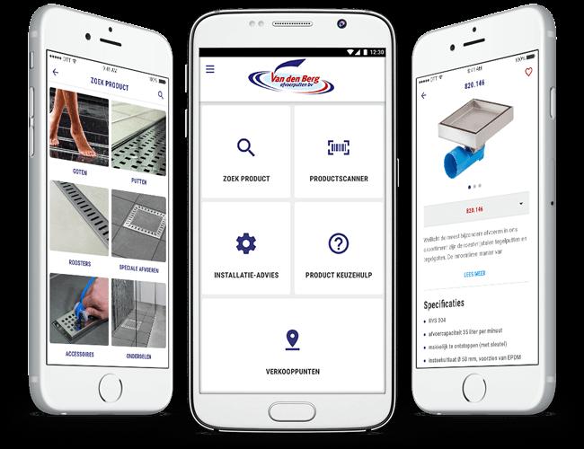 Van den Berg product information app overzicht