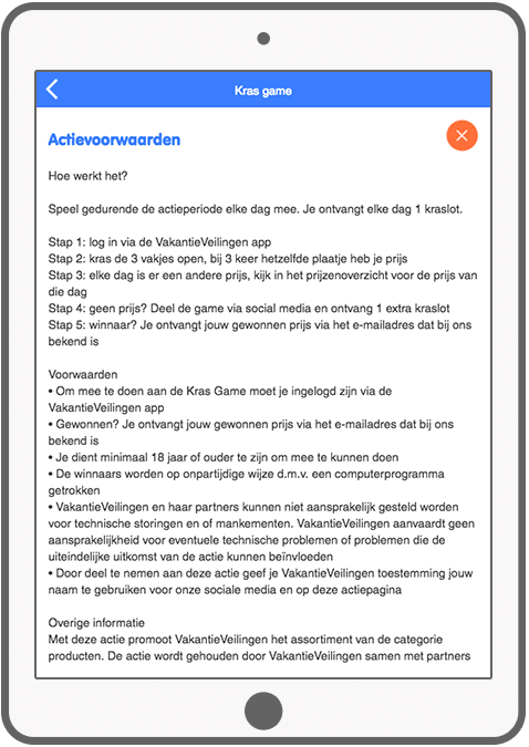 Function Terms and conditions - VakantieVeilingen Scratch game