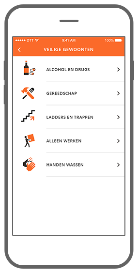 Function Veilige gewoonten  - Check Your Safety app