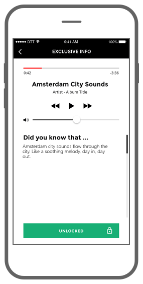 Function Exclusieve info: luister naar audio - I amsterdam Maps & Routes