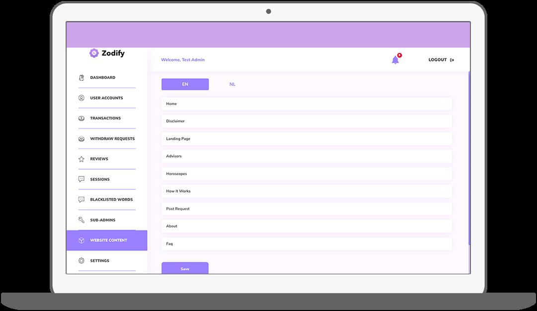 Function CMS – Content - Zodify spiritual platform