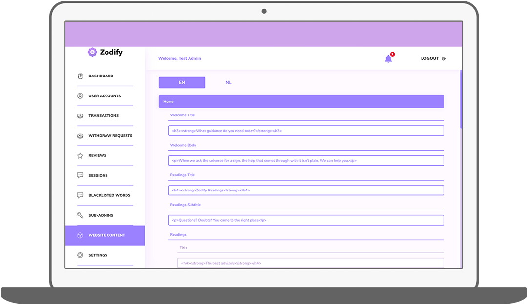Function CMS – Content Home - Zodify spiritual platform