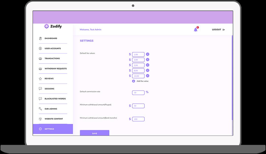 Function CMS – Settings - Zodify spiritual platform
