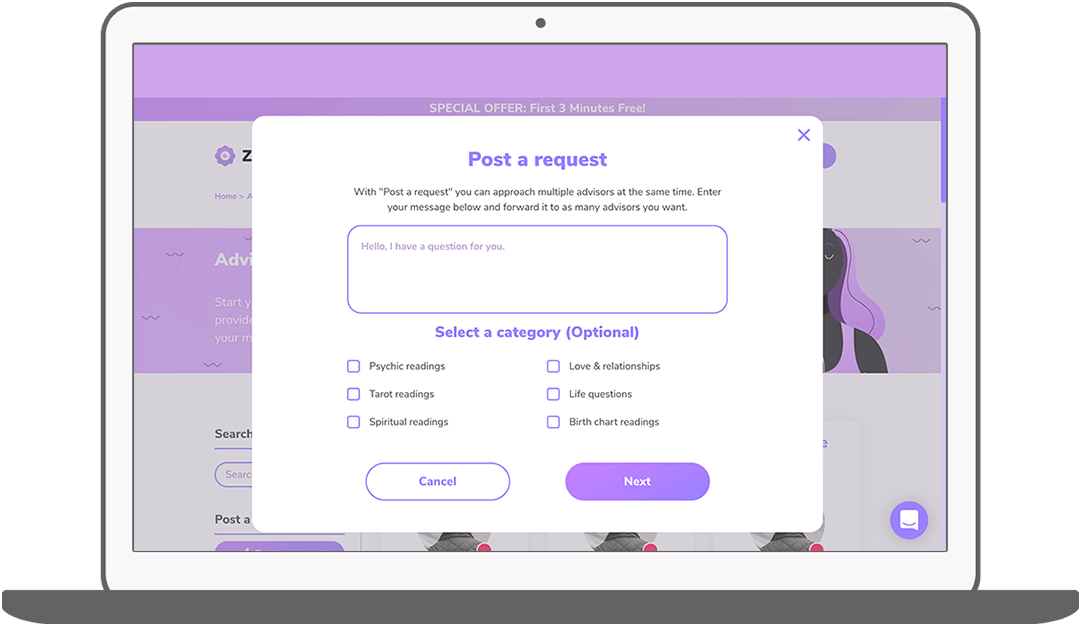 Function Place a request - Zodify spiritual platform