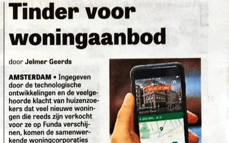 Blokster app in the Telegraaf