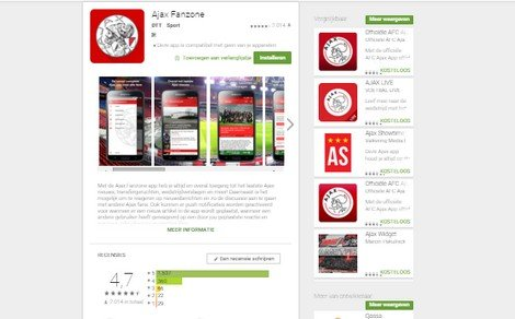 Ajax1 scores 4,7 in the Google Play Store