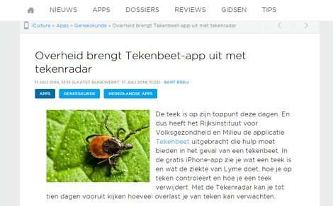 Tick bite app on iPhoneclub.nl - DTT blog