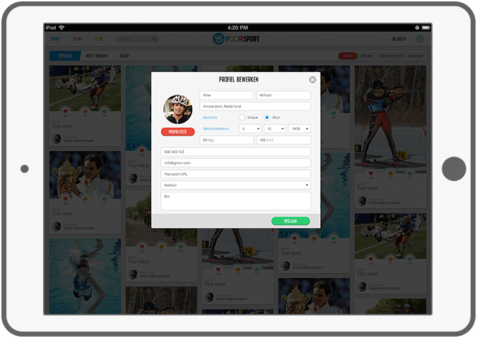 Function Manage your profile - Yoorsport Website