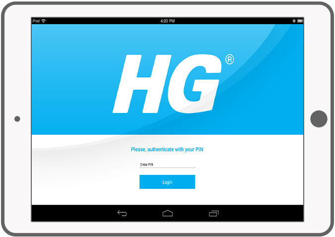 Function Log in with a pin - HG Order App