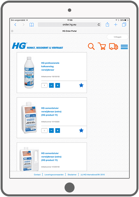 Function View favorite products - HG Order Portal