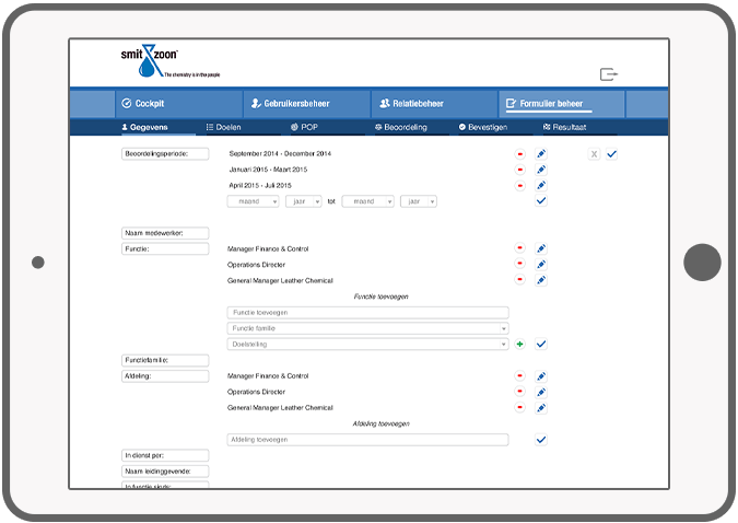 Function Manage forms - Smit & Zoon HR solution