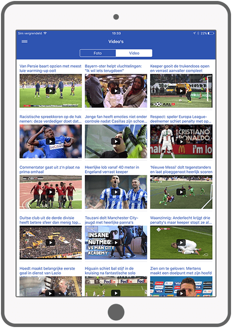 Function Photos and videos - Voetbalprimeur news app