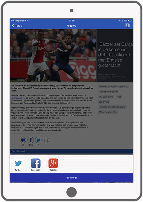 Function Share - Voetbalprimeur news app
